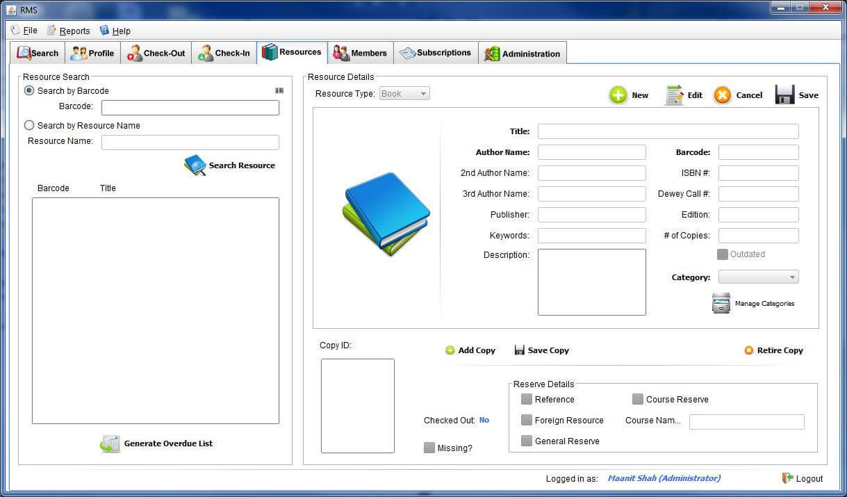 Library Management System resources Tab test cases