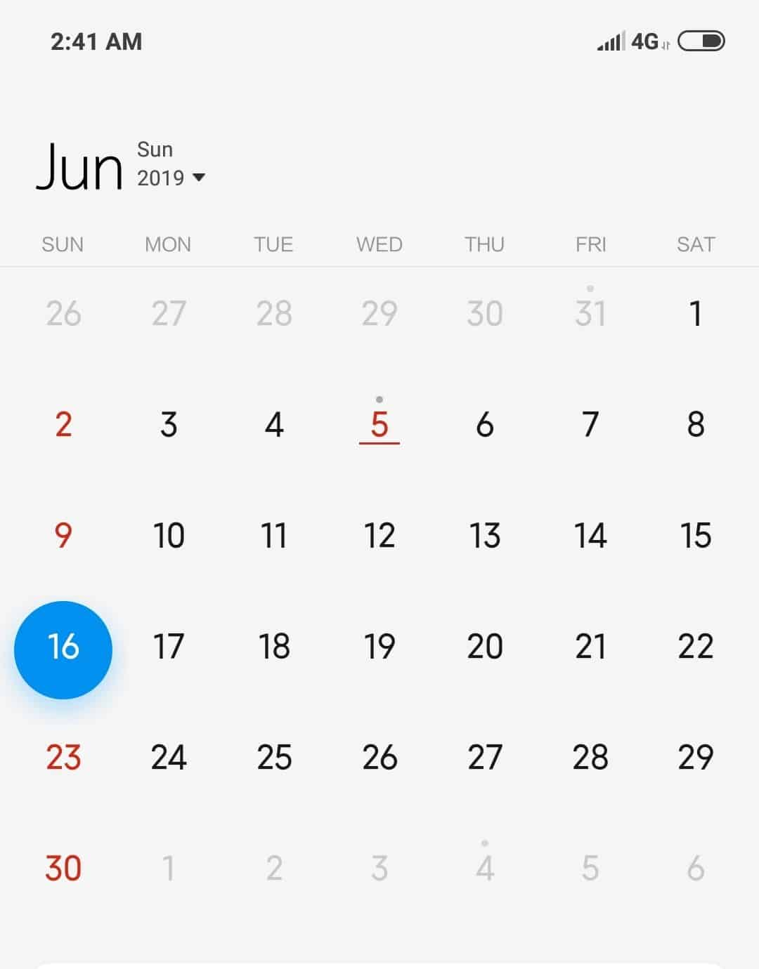 MIUI 10 Calendar App (Sample Test Cases for Calendar)