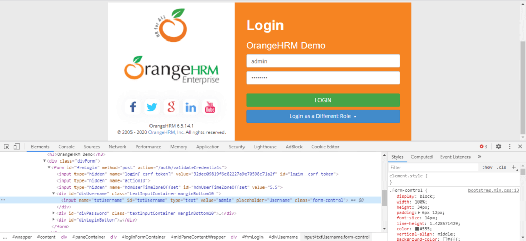 Name Locator OrangeHRM