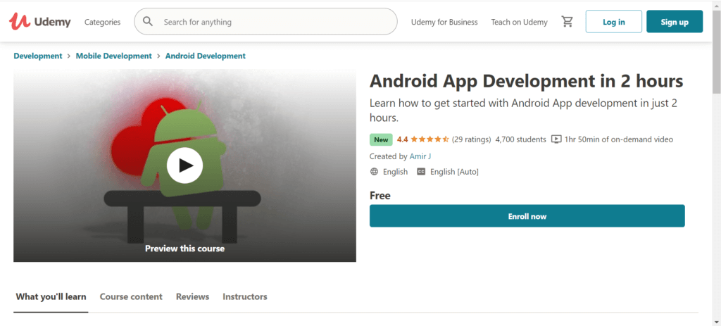 Android App Development in 2 hours