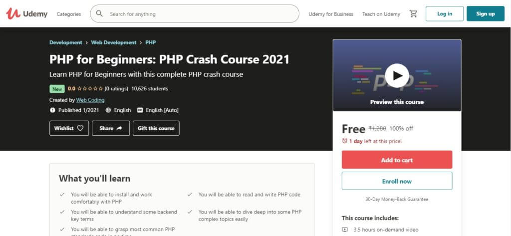 PHP for Beginners PHP Crash Course 2021